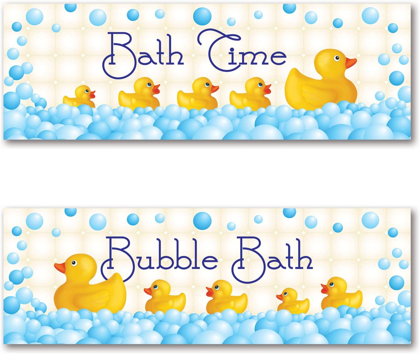 Adorable Bath Time and Bubble Bath Rubber Ducky Posters; Perfect for Any Kid's Bathroom; Two 18x6 Poster Prints