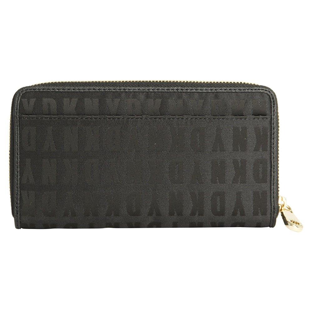 DKNY negro Logo de tela grande con cremallera monedero ...