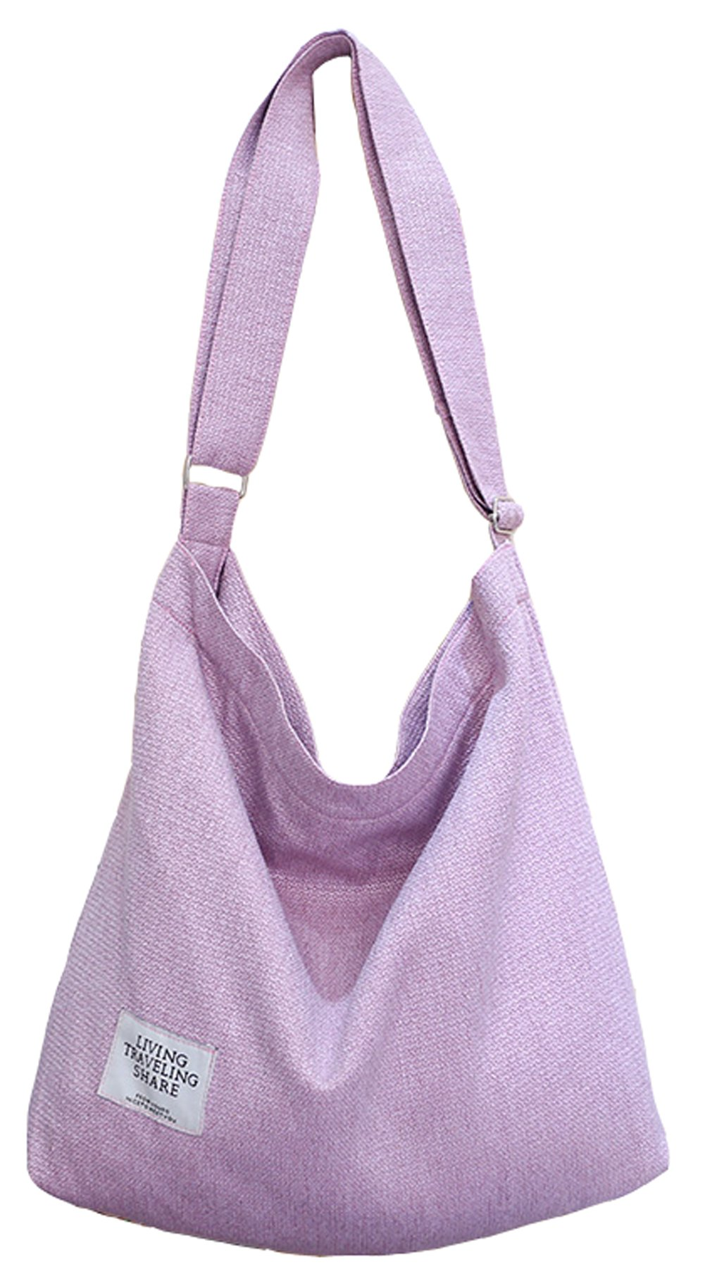 Covelin Women's Retro Large Size Canvas Shoulder Bag Hobo Crossbody Handbag Casual Tote Pink
