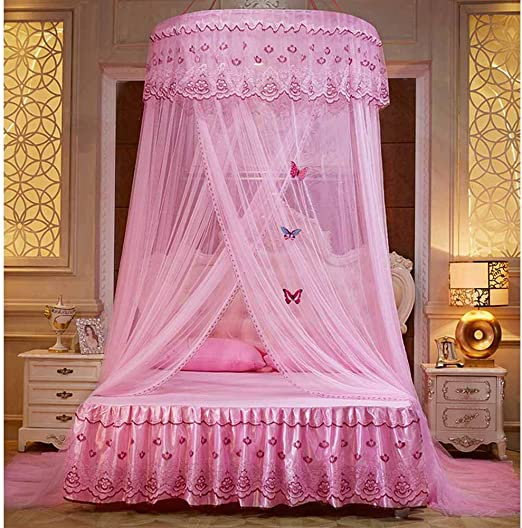 Amazon.com: POPPAP Bed Canopy Pink Color Round Dome Bed ...