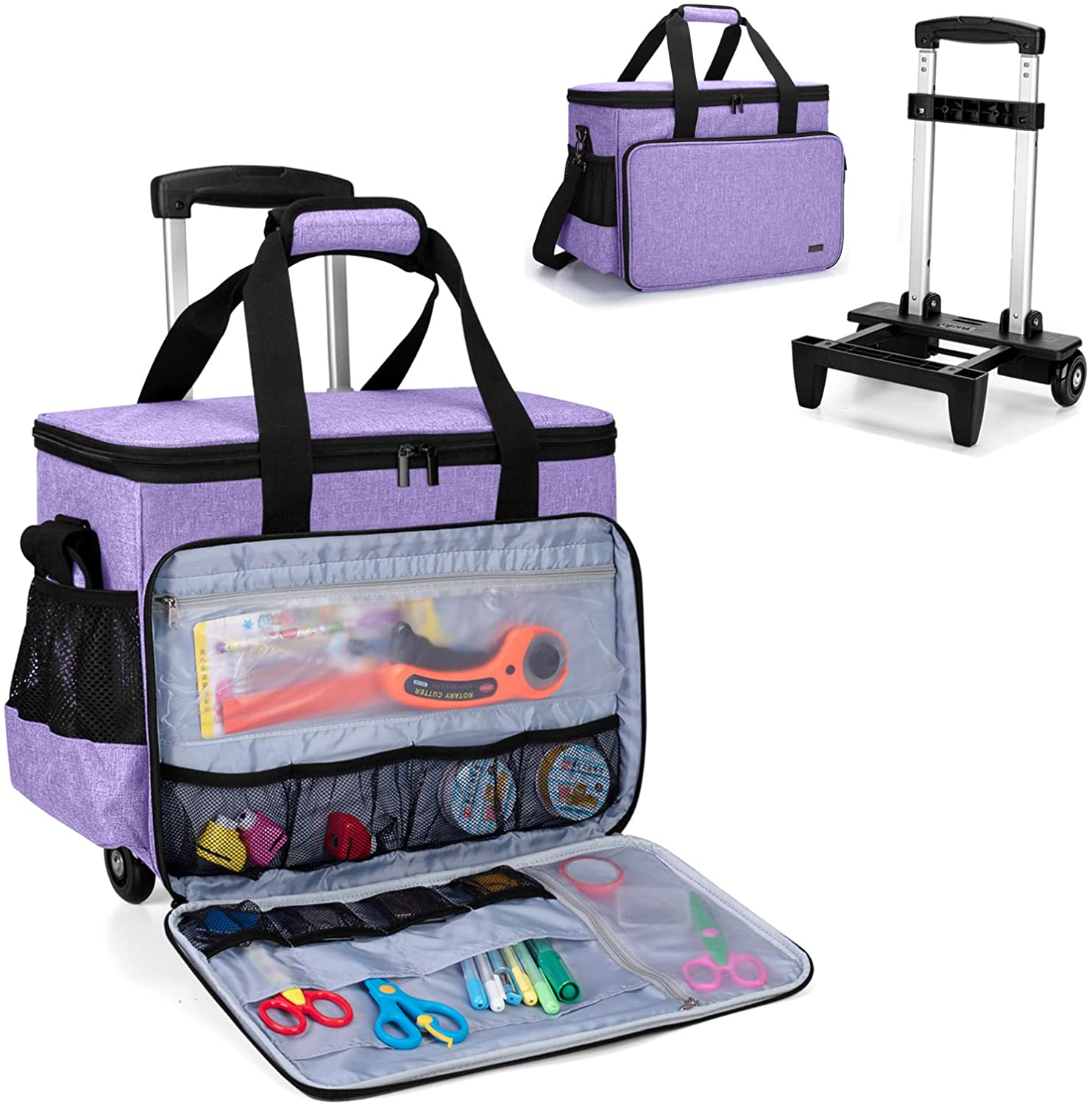 Purple Yarwo Rolling Scrapbook Tote Bag with Wheels Detachable Trolley Craft Carrying Case with Removable Bottom Wooden Board for Scrapbooking and Crafting
