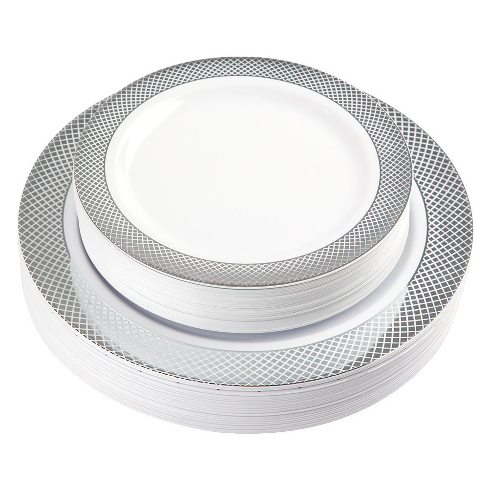 60 Pack Disposable Plastic Plates, Silver Plastic Plates for Party Wedding Includes: 30 Dinner Plates 10.25 Inch and 30 Salad / Dessert Plates 7.5 Inch, White with Diamond Rim( IOOOOO)