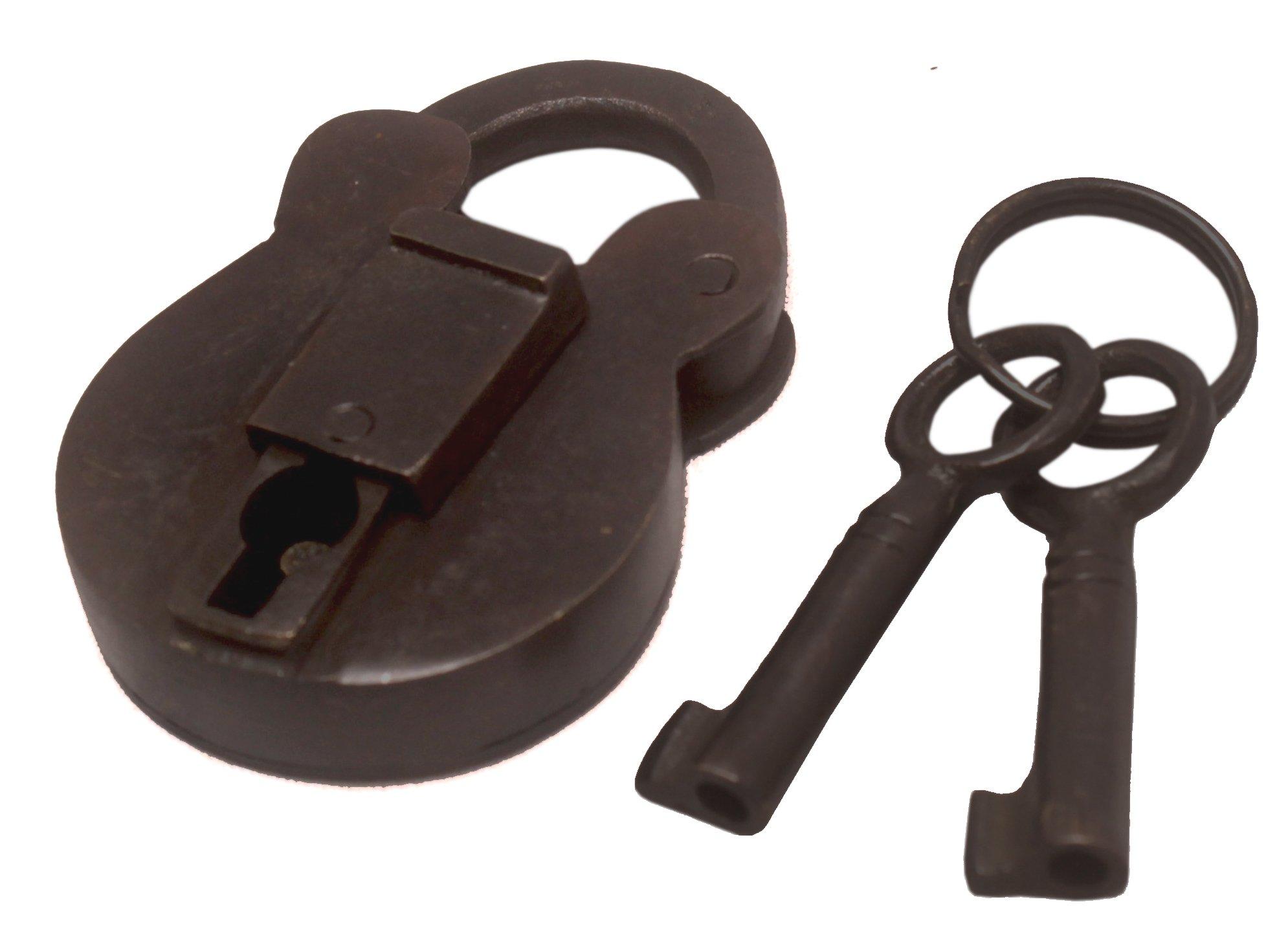 Nesha Antique Style Padlock With Keys Small
