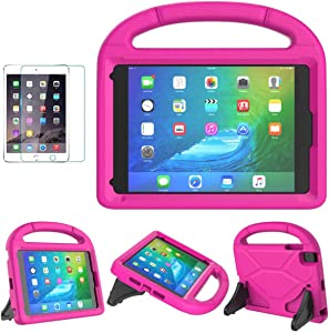 iPad Mini 1/2/3/4/5 Case for Kids, SUPLIK Durable Shockproof Protective Handle Bumper Stand Cover with Screen Protector for Apple 7.9 inch iPad Mini 5th (2019),4th,3rd,2nd,1st Generation, Pink