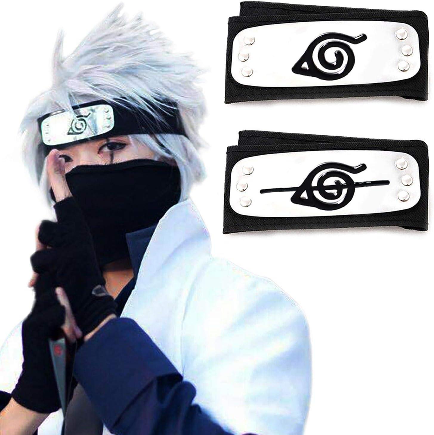 Atenia Cosplay Headband, 2 PCS Costume Leaf and Anti Leaf Village Ninja Headband Kakashi Cosplay