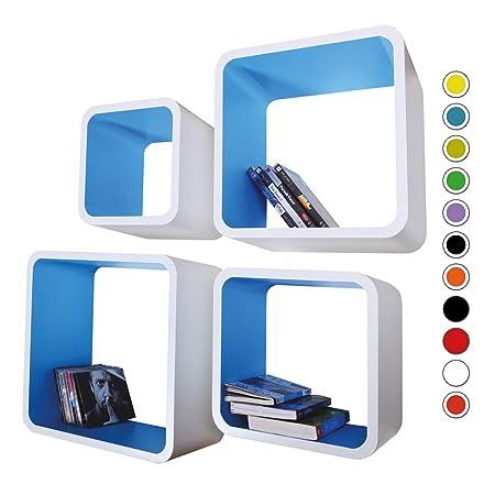 retro floating shelves bookcase cube shelving lo02 white blue rh amazon co uk