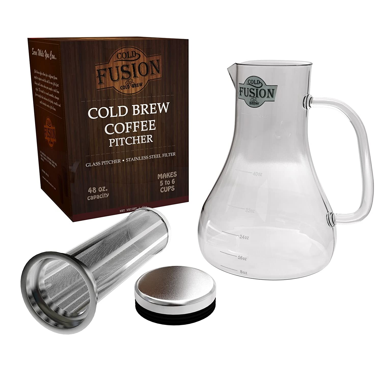 Cold Brew Coffee Pitcher System | Glass Carafe & Stainless Steel Filter | Concentrate Regular & Decaf Grounds | Iced Tea Maker| Great Gifts | 6 Cups With No Bitter Taste Or Acids By Cold Fusion Brew 1964