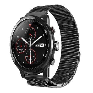 Xiaomi Huami Amazfit Stratos 2/2S Correas, Zolimx Magnética de Acero Inoxidable Reloj Inteligente Banda Sport Pulsera de Huami Amazfit Smartwatch 2 (Negro): ...