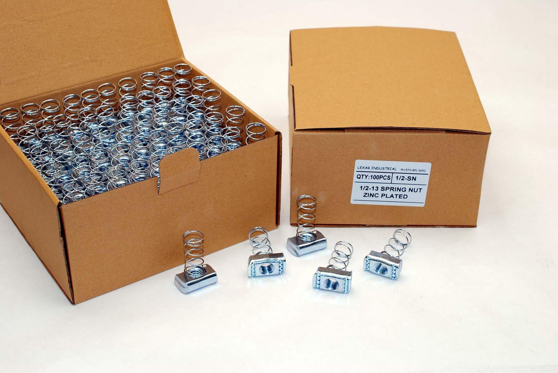 (100) Strut Channel Nuts 1/2-13 Standard Spring Zinc Plated Unistrut Nut by Lexar Industrial