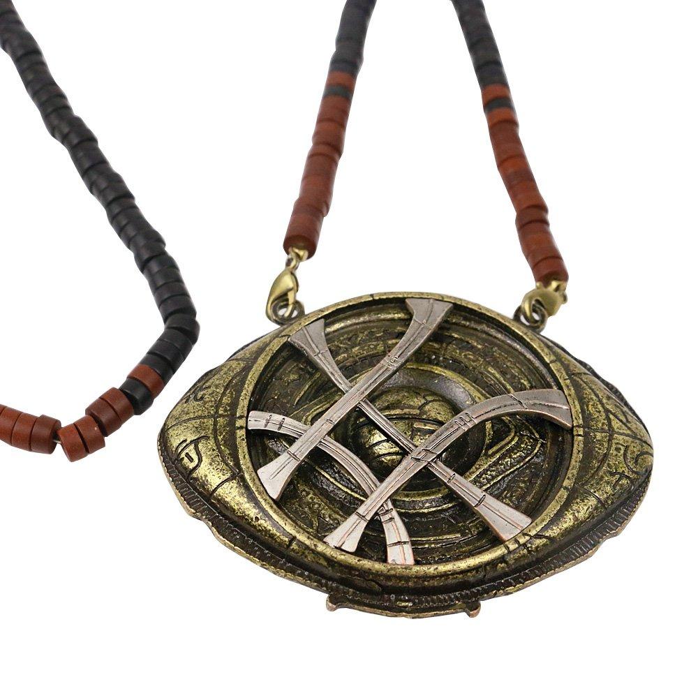 BFJ Doctor Strange Eye of Agamotto Amulet Bronze Cosplay Necklace Pendant Props BFJ Doctor Strange Necklace