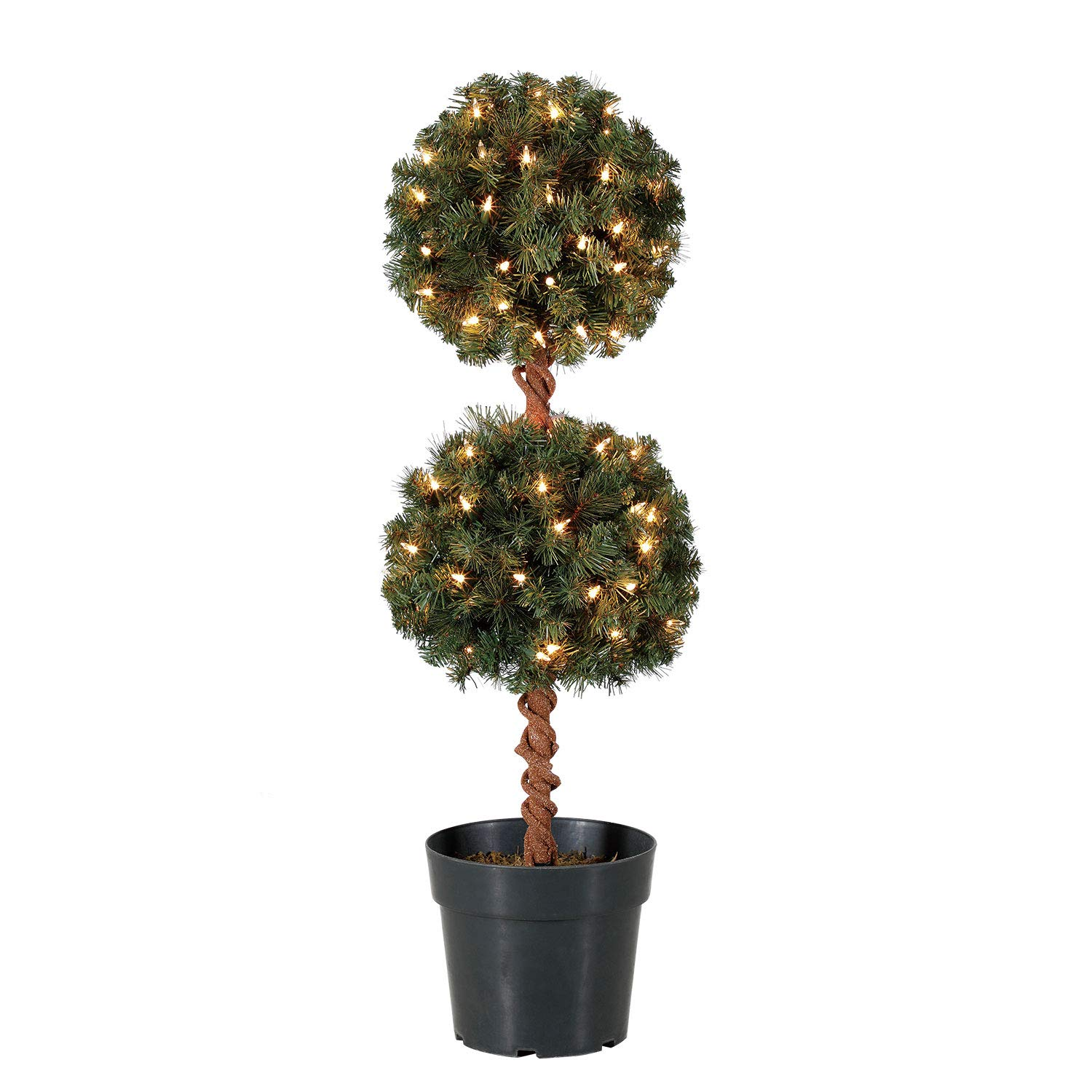 Home Heritage 3 Foot Artificial Topiary Tree w/Clear Lights for Entryway Decor