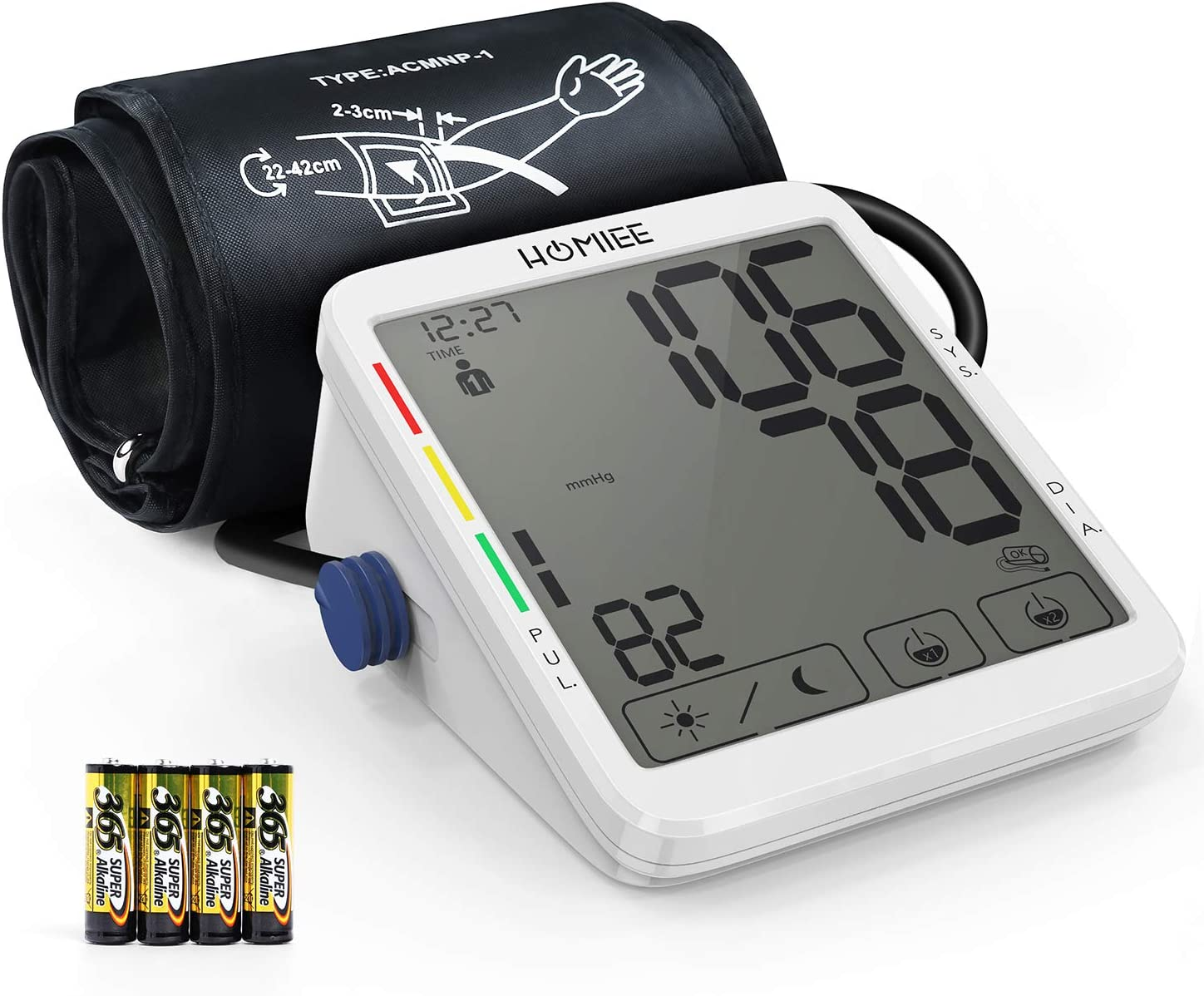 "HOMIEE 5.5"" Touch Screen Blood Pressure Monitor with AFIB Detection, 9-17"" Large Cuff Blood Pressure Machine, 8 Weeks Day & Night Record, 2 Users 240 Memories BP Meter, USB Charging/Batteries Powered"