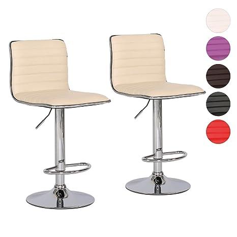 Barhocker Set Farbwahlbeige höhenverstellbar 2er Stahl Stuhl gepolstert Tresen verchromter Kunstleder CoQrdExBeW