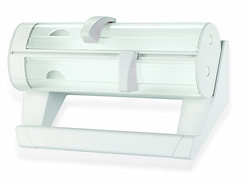Fratelli Guzzini Kitchen Portarotolo a 3 Funzioni, PMMA/POM/Stainless steel, Bianco, 0.02x40x25.5 cm Ugolini Design 06260011