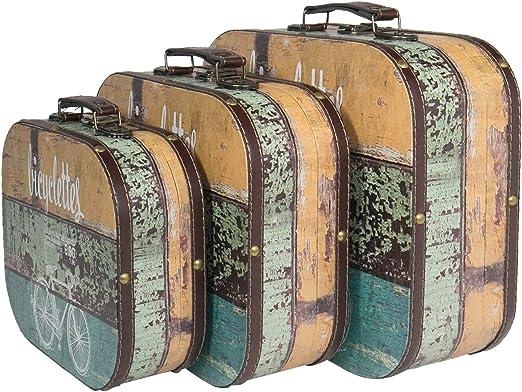 HMF 6431700 Maleta Vintage de Madera | Juego de 3 | Diferentes tamaños | Decoración Bicicleta: Amazon.es: Hogar