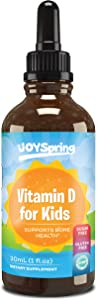 Kids Vitamin D Drops - Vitamin D for Kids - Tasty Childrens Vitamin D3 K2 Drops - Kids Immune Support & Bone Health - 1,000 IU Toddler Growth Formula - Peppermint Flavor
