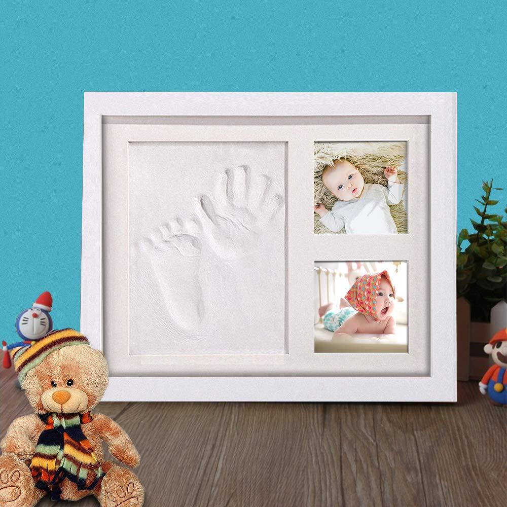 Hand und Fu/ß Gipsabdruck Set Abdruckset Fussabdruck-Geschenken f/ür Babys,Neugeborene-Erinnerungen f/ür die Ewigkeit Baby Handabdruck und Fu/ßabdruck,AMAYGA Baby Holz Bilderrahmen mit Gipsabdruck