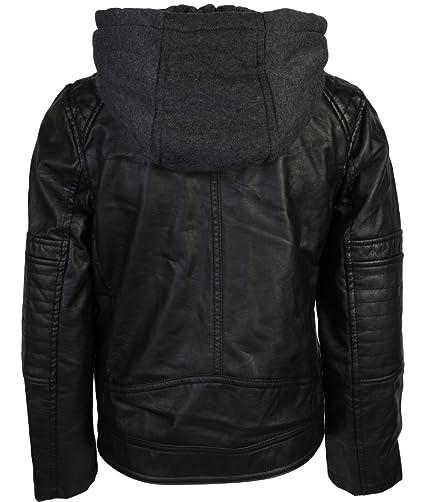 04e758dfb21f Amazon.com  Urban Republic Boys Faux Leather Biker hooded Jacket ...