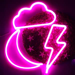 Pink Moon Cloud and Bolt Neon Signs Decorative LED Neon Lights Led Neon Wall Sign Light Decor Battery or USB Operated for Christmas, Birthday, Wedding Party Decoration