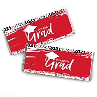 product image for Big Dot of Happiness Red Grad - Best is Yet to Come - Candy Bar Wrapper Red 2021 Graduation Party Favors - Set of 24