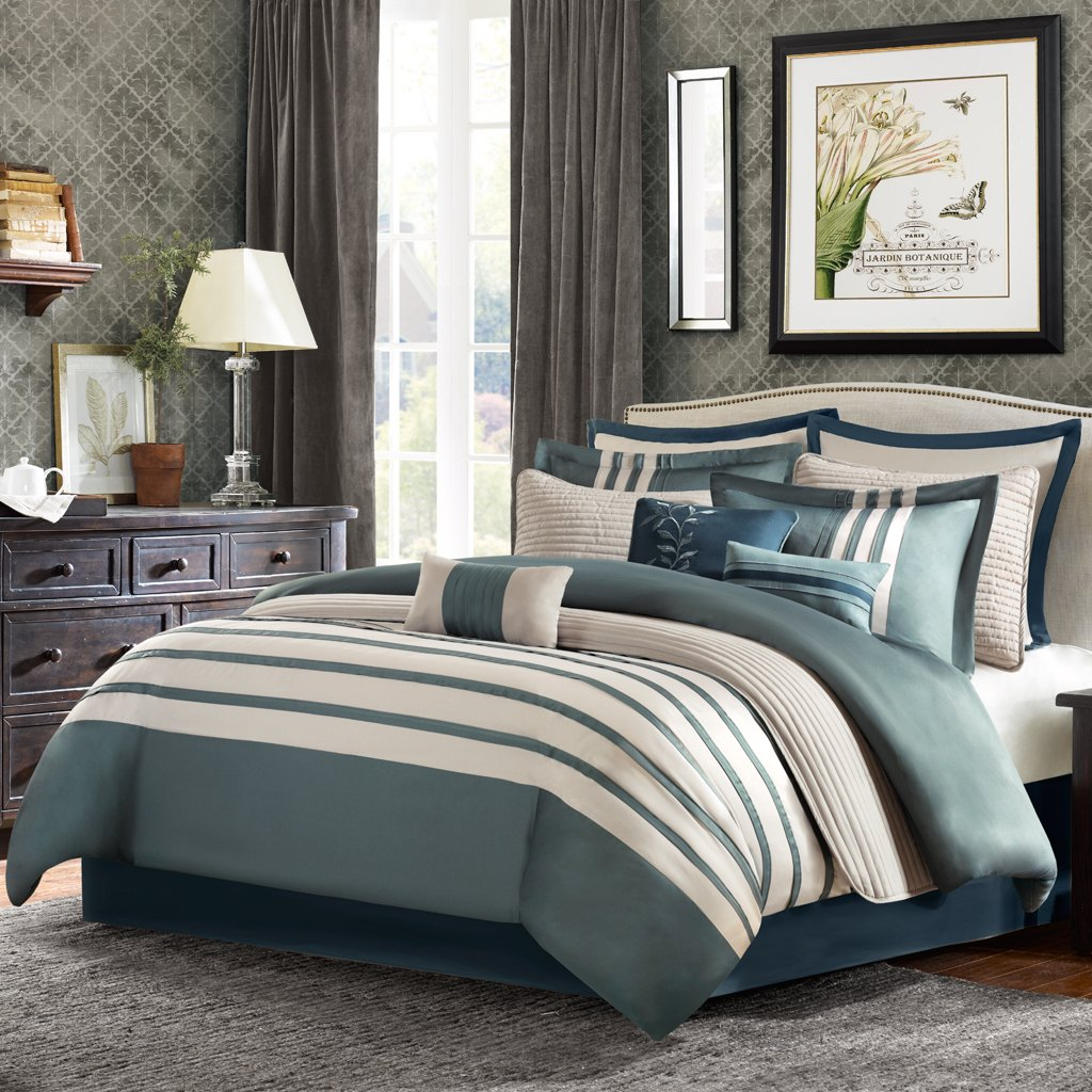 dark bedding brown light blue sets pretty and set interior comforter green king size california full decoration