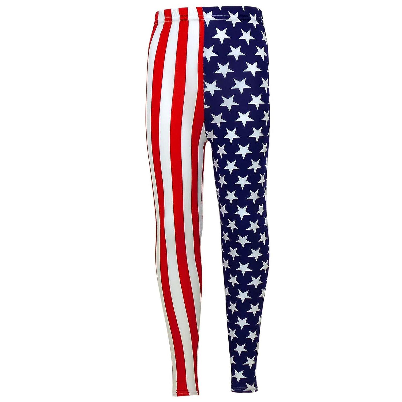 Girls USA Legging Kids Stripes & Stars Print American Leggings New Age 7 8 9 10 11 12 13 Years