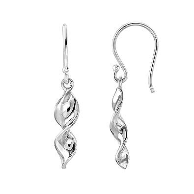 134f553c7 Dew Sterling Silver Double Twisted Drop Earrings, 6080HP: Amazon.co.uk:  Jewellery