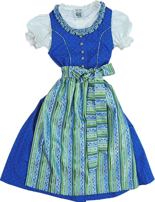 traumhaftes Kinderdirndl SALLY in royalblau-grün, 3tlg. Komplett-Set
