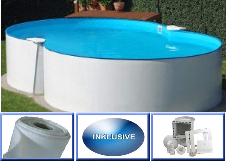 Summer Fun - Piscina de pared de acero Malta Basic octogonal 3,50 m x 5,40 m x 1,20 m pantalla 0,4 mm Spar Set piscina octogonal / 350 x 540 x 120 cm Stahlwandpool