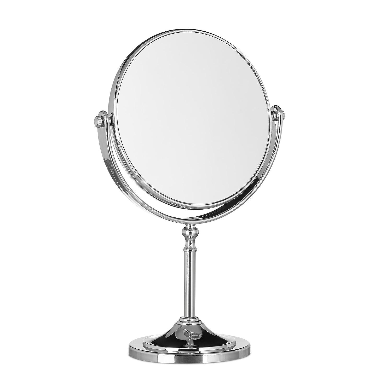 Relaxdays Miroir de maquillage grossissant à poser miroir rond pivotant sur pied double face HxlxP: 28x18x10 cm, argent 10021949