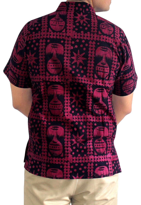 LA LEELA Shirt Casual Button Down Short Sleeve Beach Shirt Men Pocket Batik 24