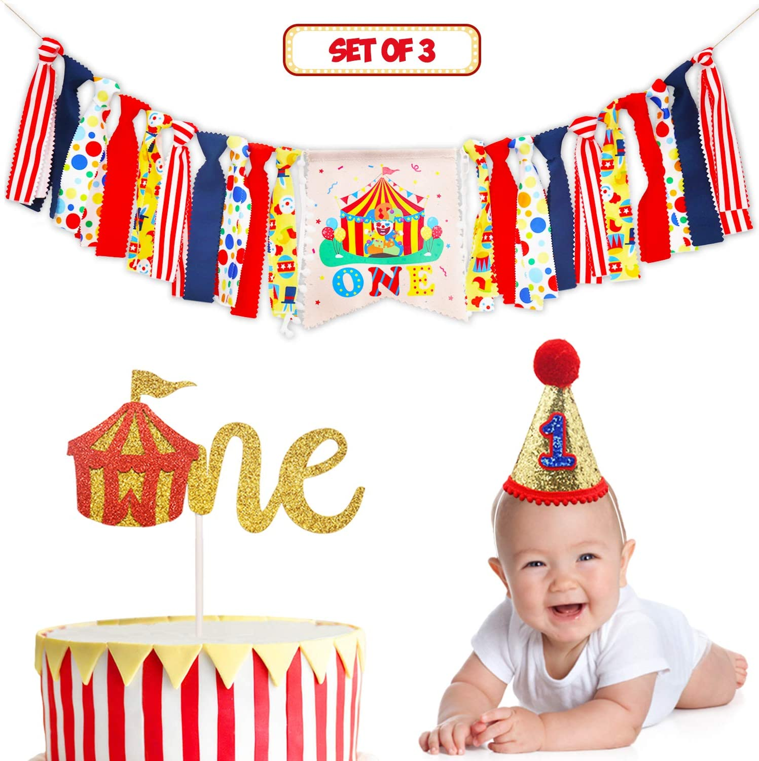 Pleasing Amazon Com Circus Carnival Theme 1St Birthday Decorations Kit Personalised Birthday Cards Paralily Jamesorg