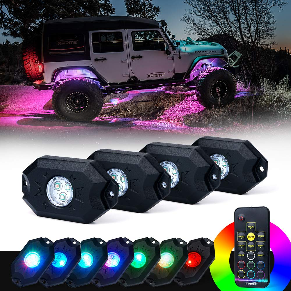 Xprite Victory Series RGB LED Rock Lights Multicolor Neon LED Light Kit w/Bluetooth Controller, Timing, Flashing, Music Mode for Underglow Off Road Truck SUV - 6 Pods DL-ROCKLIGHT-G1-6PC