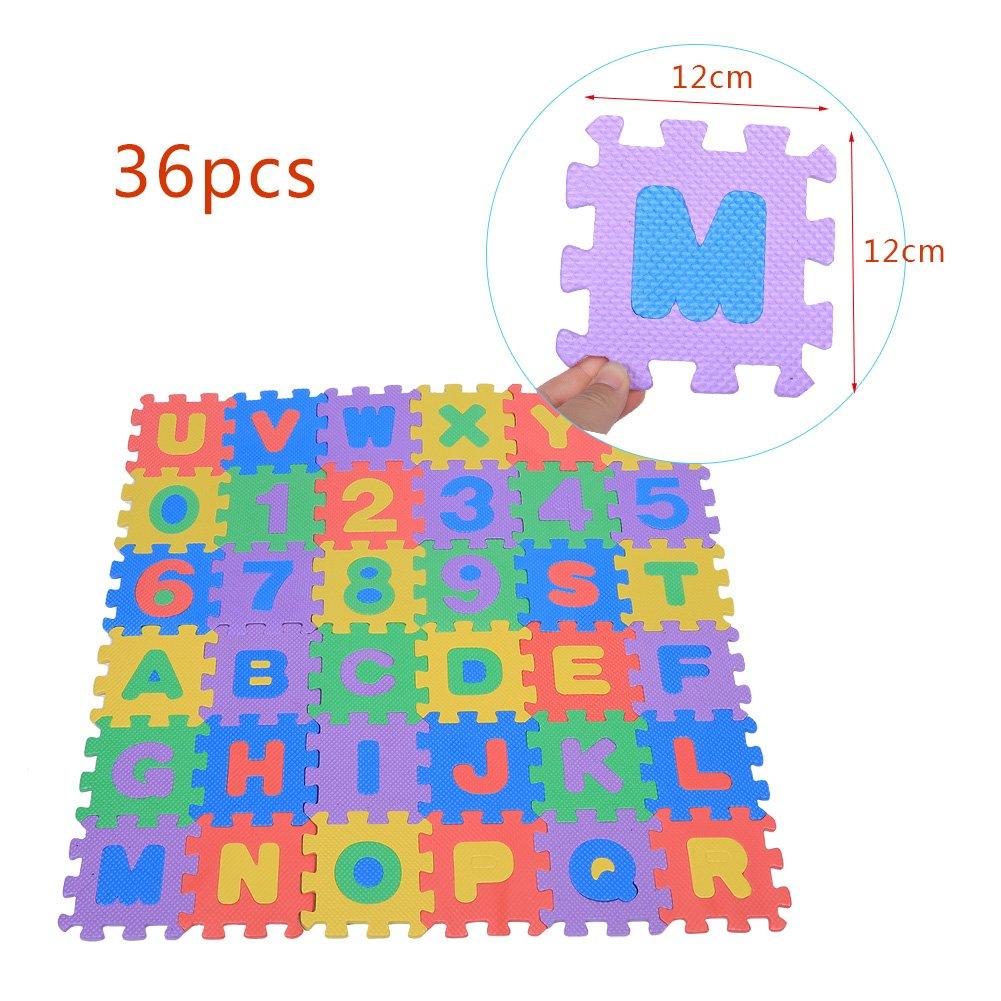 36stk Alphabet Zahl Puzzlespiel Matte Weiche EVA die kriechende Auflage Quadratische Fu/ßboden Schaum Matten intellektuelle Spielwaren 12 * 12CM