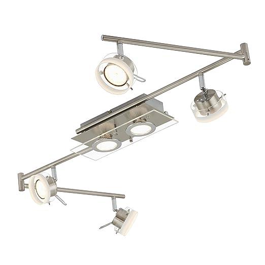 Briloner Leuchten 3166-062 A+ Lámpara de techo con luces LED, arco articulado con sistema de raíles y focos proyectores, metal, 26 W, níquel mate, 150 ...