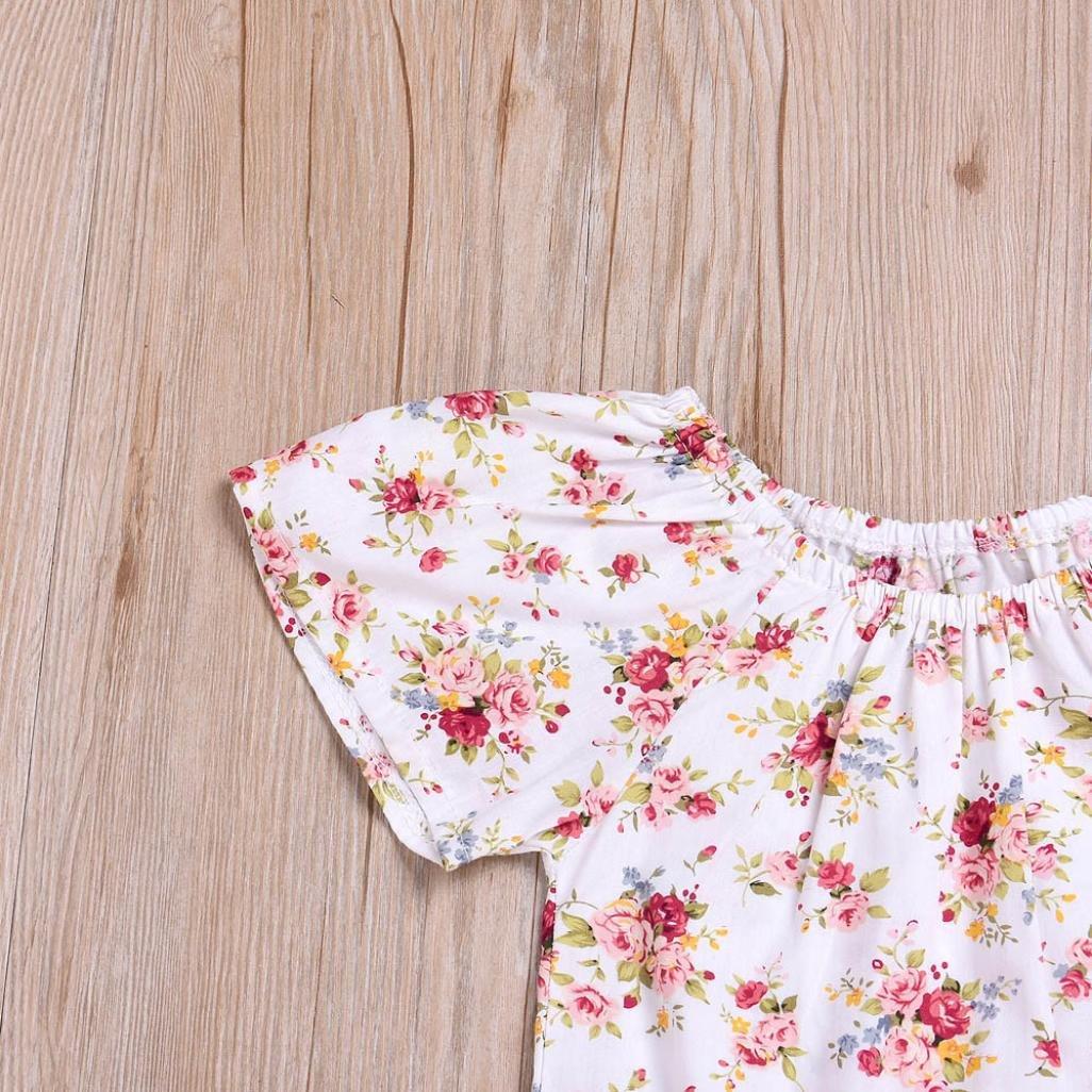 Mono Beb/é ni/ña Mamelucos de Manga Corta de beb/és reci/én Nacidos ni/ñas Estampado Floral Falda de Correa Conjunto de Trajes Ropa Amlaiworld