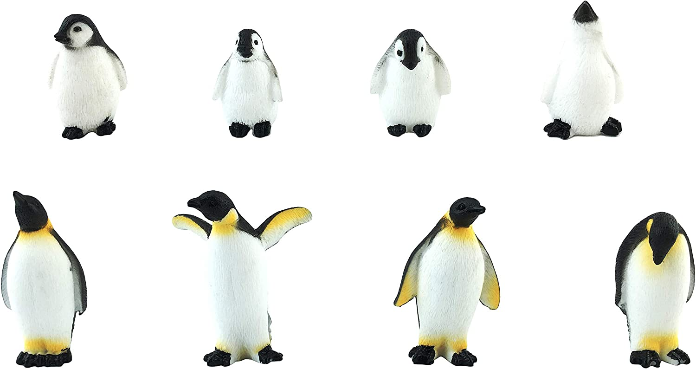 EMiEN 14 PCS Simulation Penguin Miniature Fairy Garden Ornament Kits for DIY Dollhouse Decoration,Micro Ocean Scene Fairy Garden Accessories,Adult Penguins,Penguin Baby,Seal Baby
