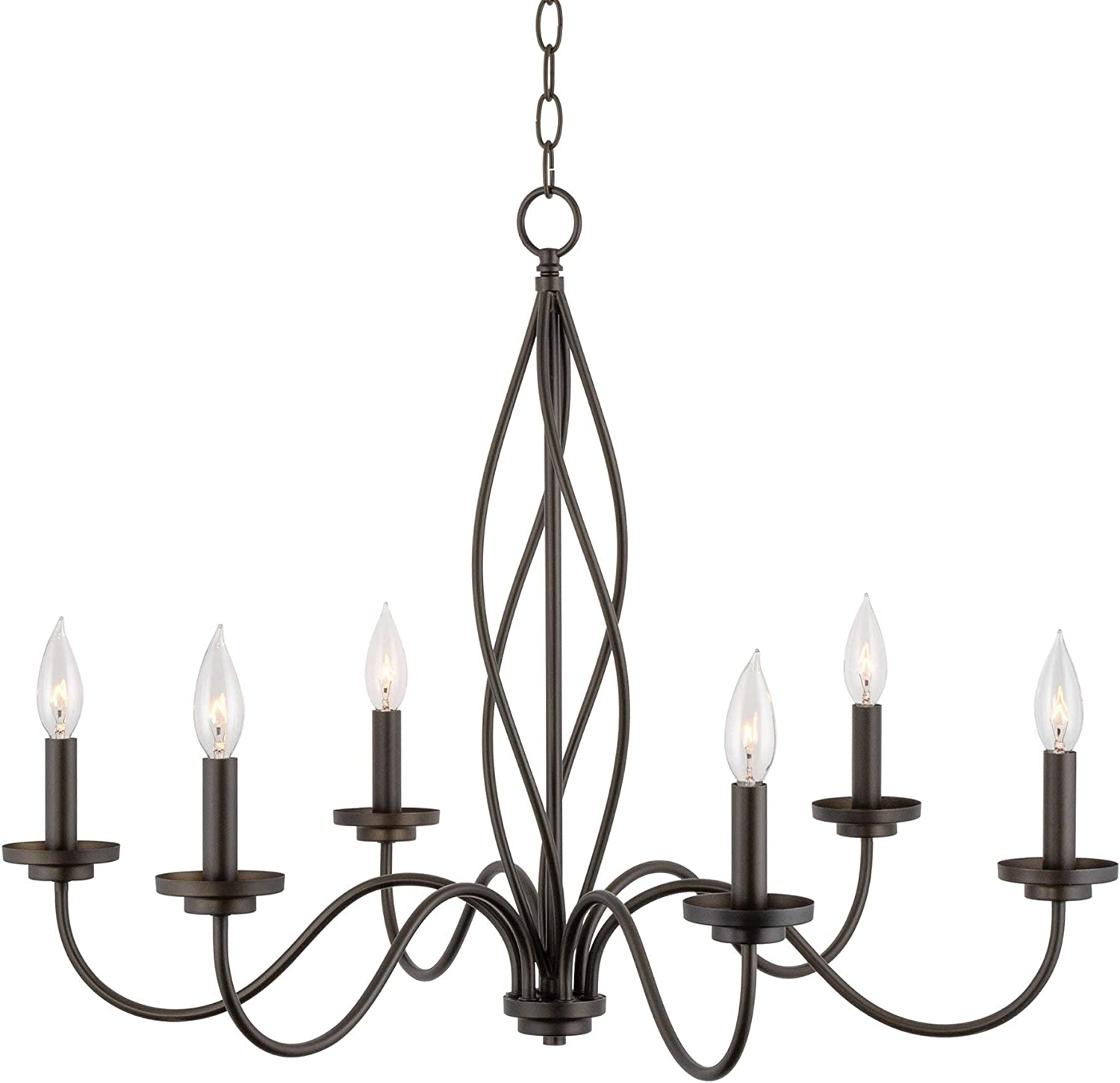 """Kira Home Chateau 29"""" 6-Light Modern Farmhouse Chandelier, Adjustable Hanging Height, Oil Rubbed Bronze Finish"""