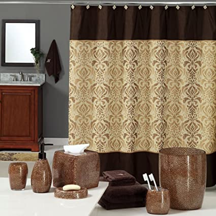 Uphome Luxury Brown Gold Shiny Damask Bathroom Shower Curtain