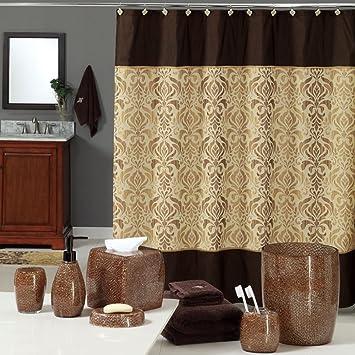 uphome luxury brown gold shiny damask bathroom shower curtain waterproof and mildewproof havyduty