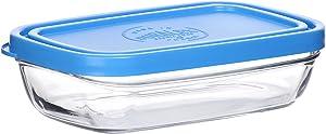 Duralex, Clear/Blue uralex Lys Rectangular Bowl with Lid, 13 oz