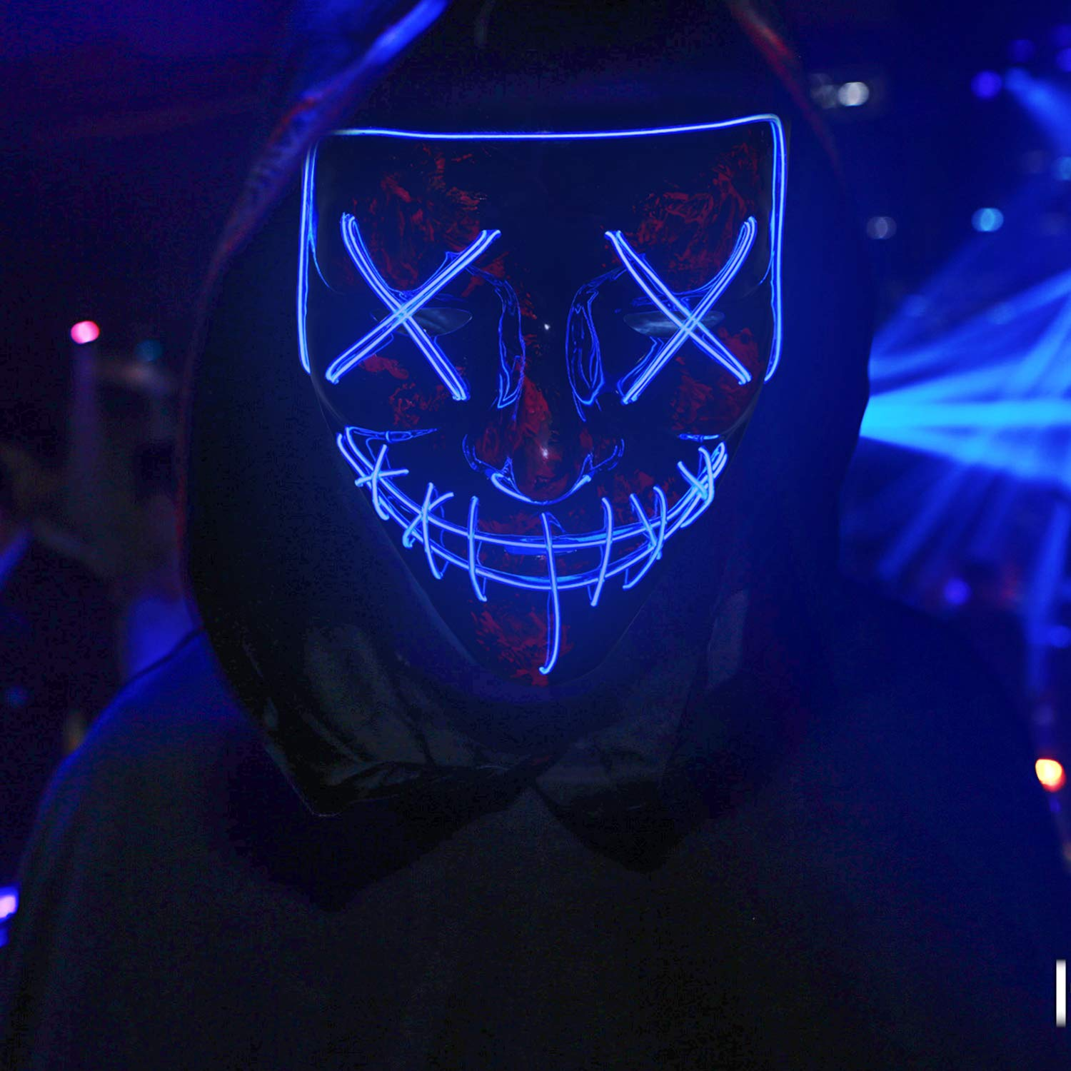 Light up Mask Yostyle Halloween Mask Cosplay Led Costume Mask EL Wire Light up for Halloween Festival Party-Blue light