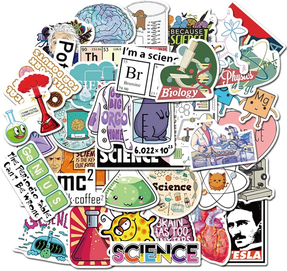 Science Lab Stickers for Chemistry(50pcs) Astronaut Brain Scientists Funny Stickers for Chemistry Gifts,Student,Kids,Boys,Girls,Blockchain Code