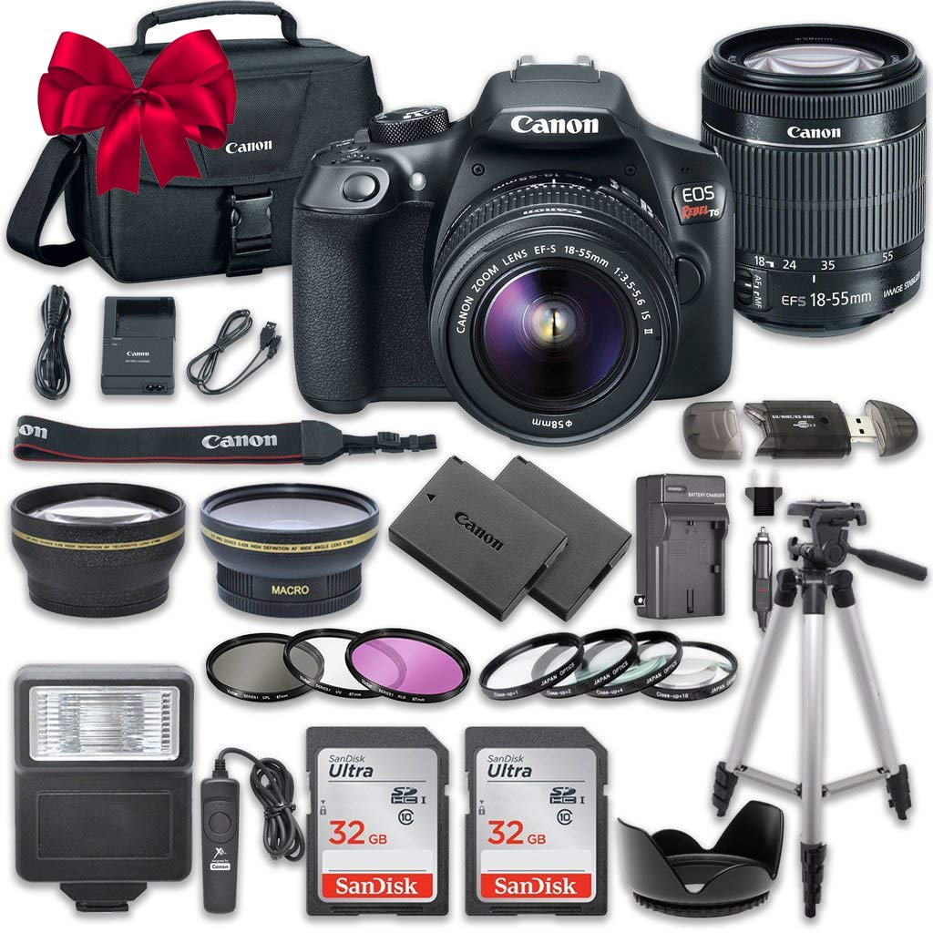 Canon EOS Rebel T6 DSLR Camera Bundle with Canon EF-S 18-55mm f/3.5-5.6 IS II Lens + 2pc SanDisk 32GB Memory Cards + Accessory Kit 33-T6-KITA-111416