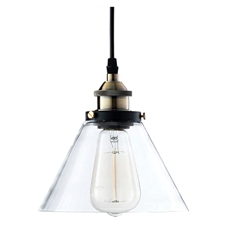 022f593ce035 Light Society Cruz Mini Pendant Light, Clear Glass Shade with Antique Brass  Finish, Vintage Modern Industrial Farmhouse Lighting Fixture (LS-C108) ...