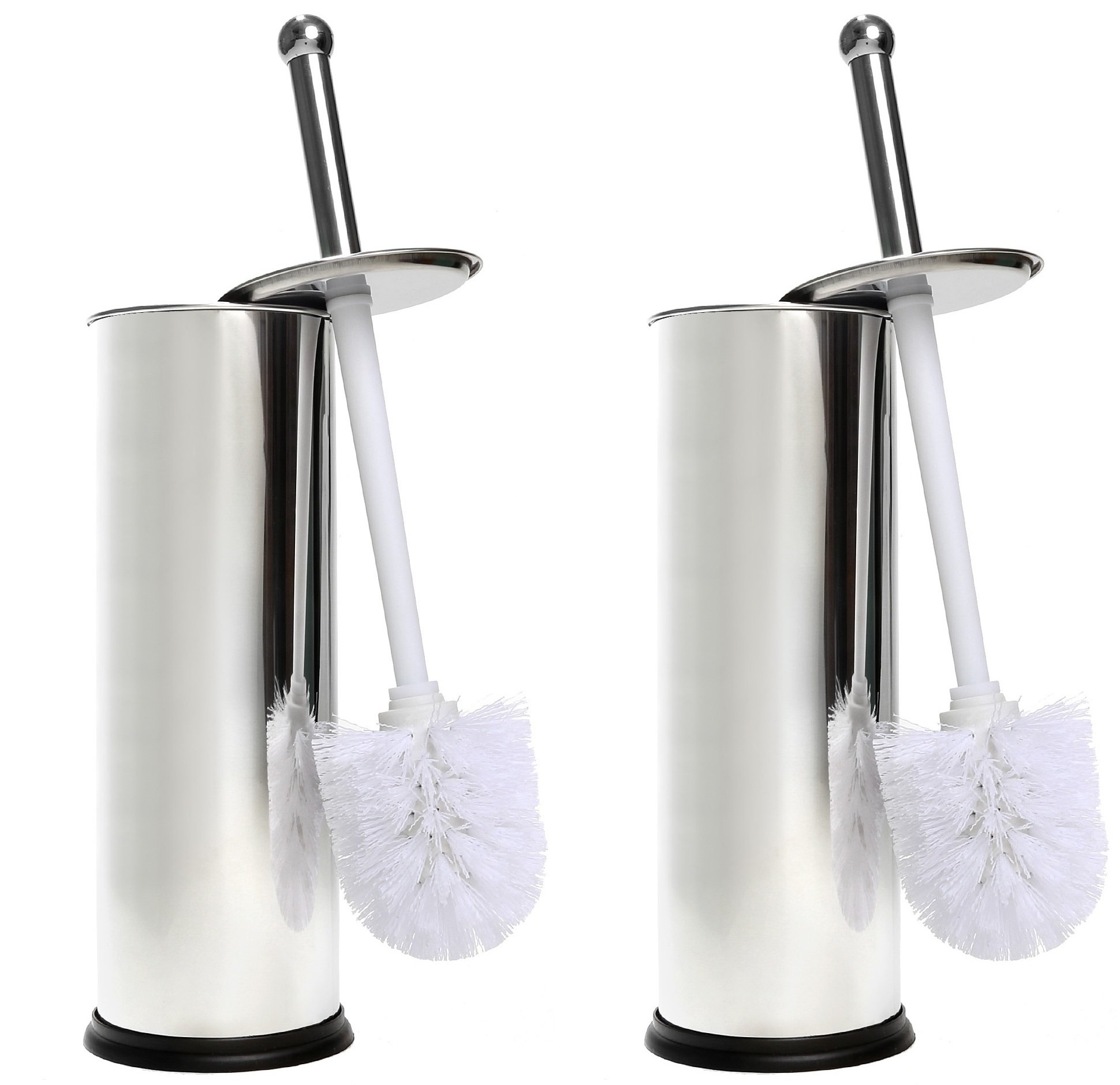 Home Intuition Chrome Toilet Brush and Holder, 2 Pack