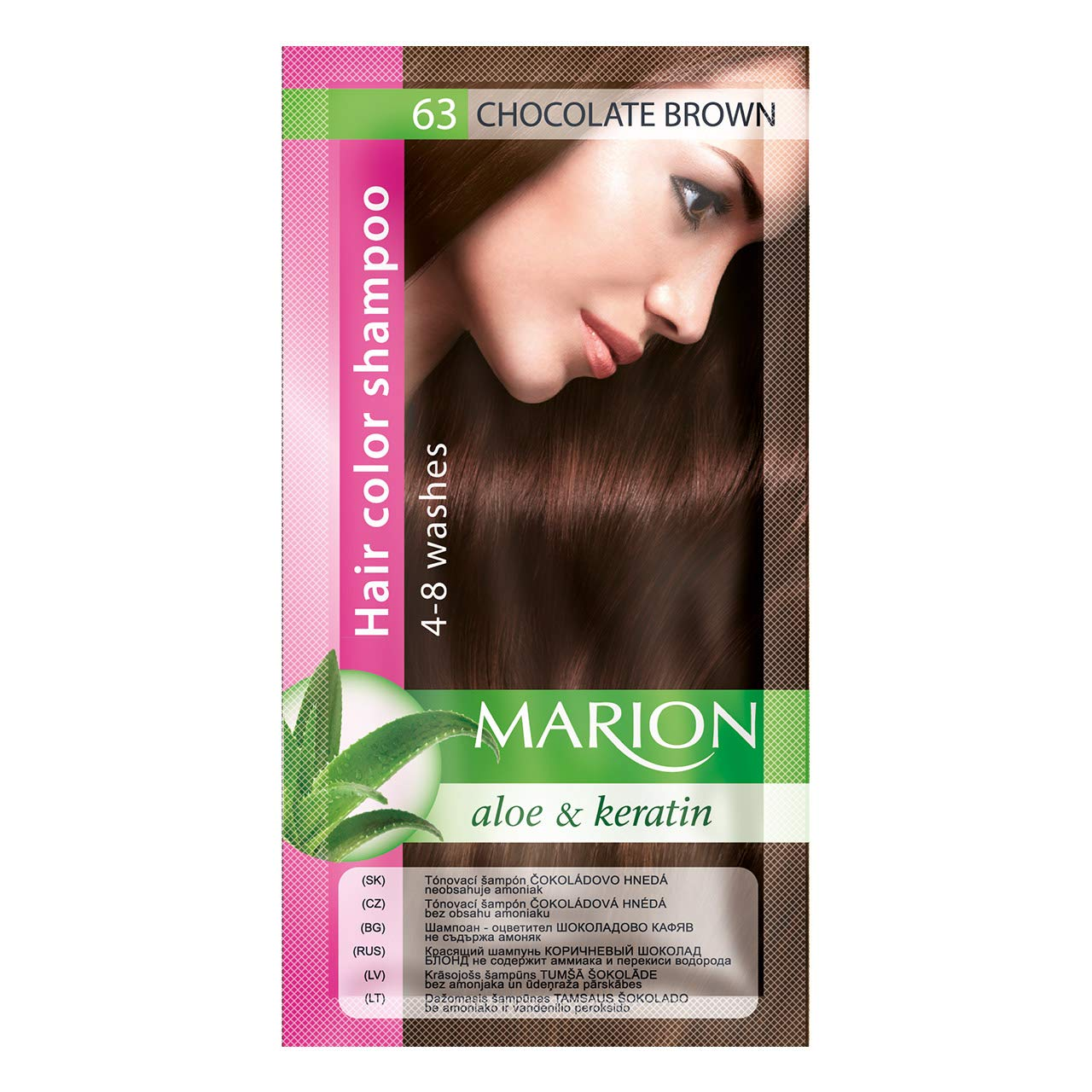 Marion Hair Color Shampoo in Sachet Lasting 4-8 Washes - 63 – Chocolate Brown