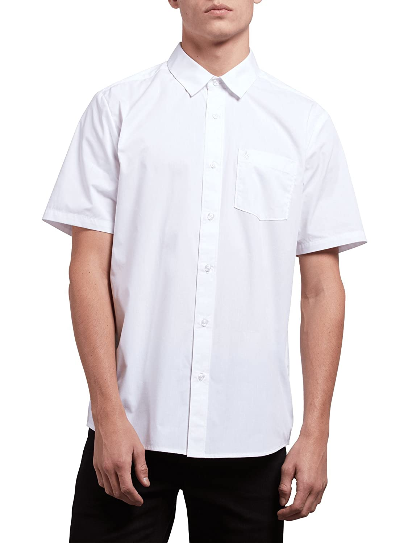 Volcom Mens Standard Everett Solid Short Sleeve Shirt A0411800