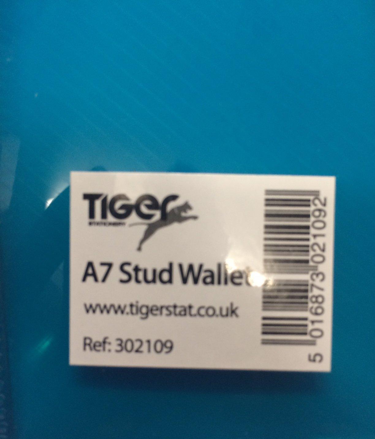 Tiger A7 coloured Document stud wallet folder files pack of 5