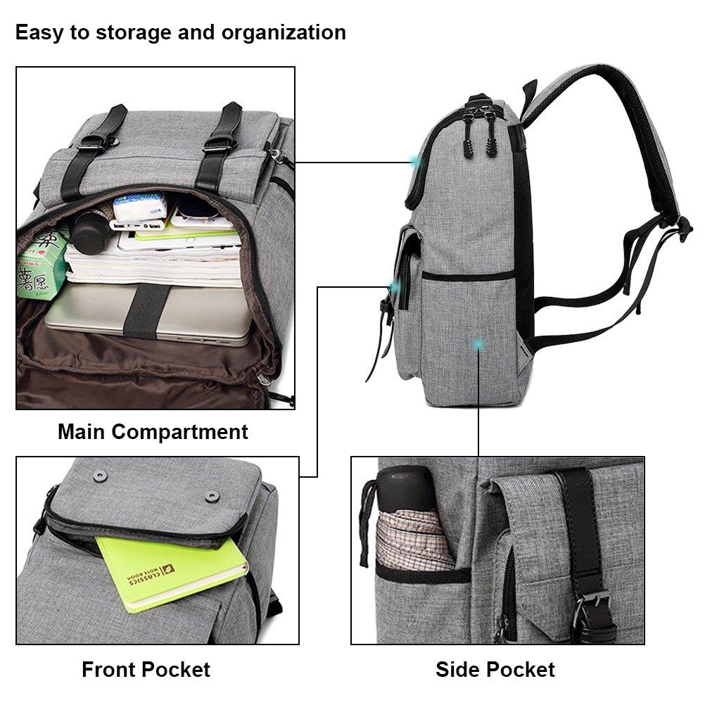 Unisex Professional Slim Business Backpacks Laptop, Feskin Fashion Lightweight Casual Tablet Backpack Daypacks Shoulder Bags for School Students Laptop Macbook Computer - Grey by Feskin (Image #3)